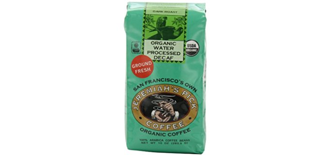 Jeremiah's Pick Coffee Organic Water Processed Dark Roast Decaf Ground Coffee