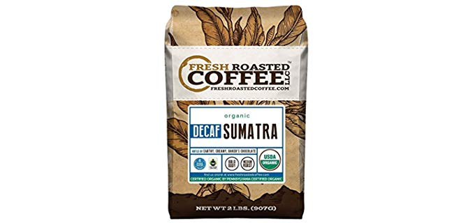 Fresh Roasted Coffee® Organic Sumatra Decaf. Mountain Water Processed Sumatra Decaf Coffee
