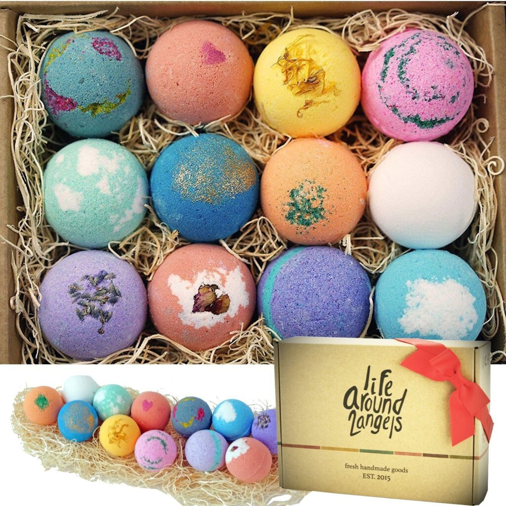 LifeAround2Angels Bath Bombs Gift Set 12 USA made Fizzies