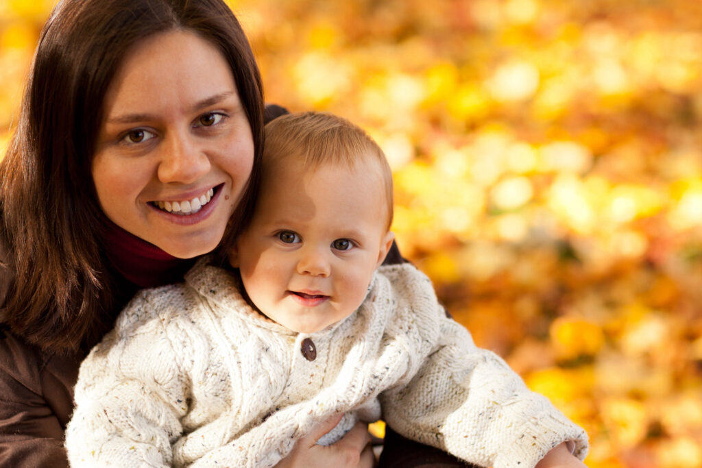 mom and child in autumn 1